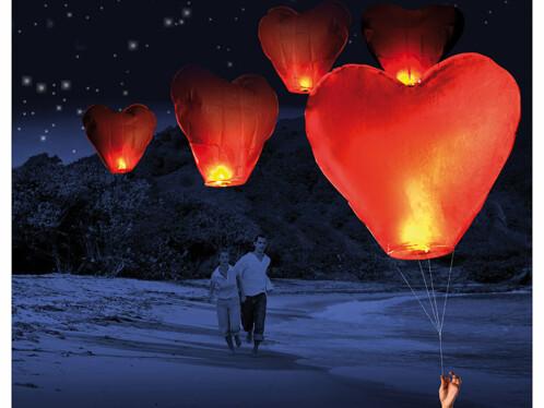 5 Lanternes volantes porte-bonheur en forme de coeur