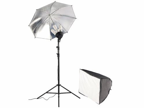 Boîte à lumière avec parapluie réflecteur
