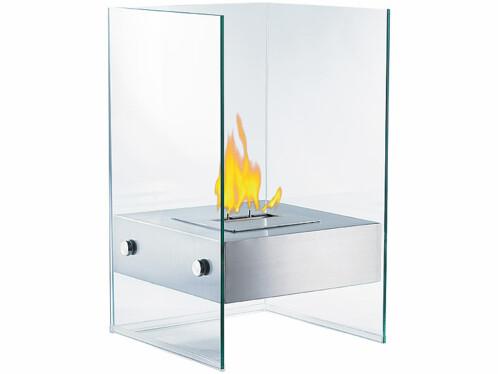 Cheminée décorative au bioéthanol Carlo Milano en verre.