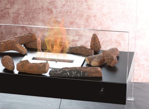 pack de fausses branches et pommes de pin en pierre decoratives pour poeles a bioethanol