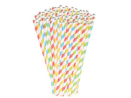 100 pailles en papier rayé 4 couleurs