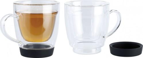 2 Tasses double paroi avec dessous en silicone