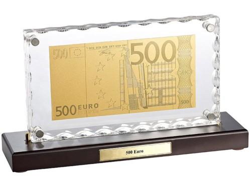 Billet de 500 Euros plaqué or avec socle