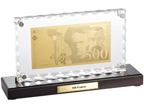 Billet de 500 Francs plaqué or avec socle