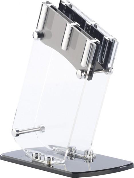 Bloc à couteaux en verre acrylique - pour 4 couteaux