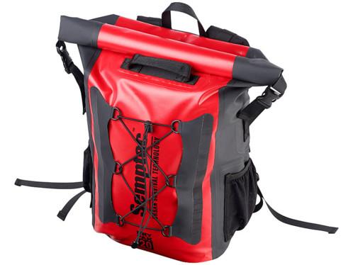 sac a dos etanche 20 L rouge spécial trekking randonnée en toile pvc semptec avec poches bouteilles et sac de couchage