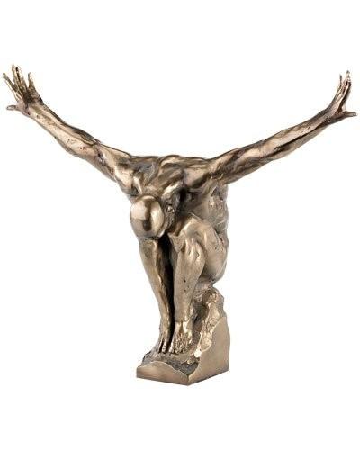Statuette décorative en résine aspect bronze - Athlète assis