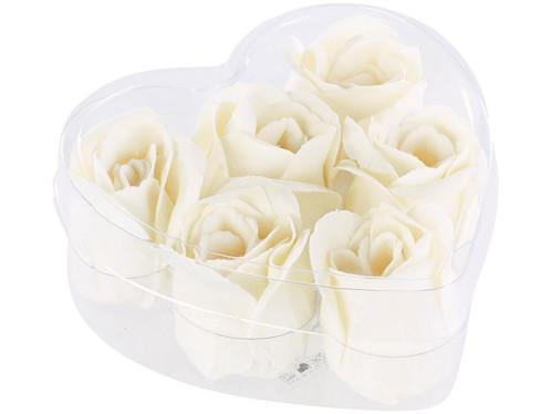 6 savons en forme de roses blanches avec un coffret cadeau