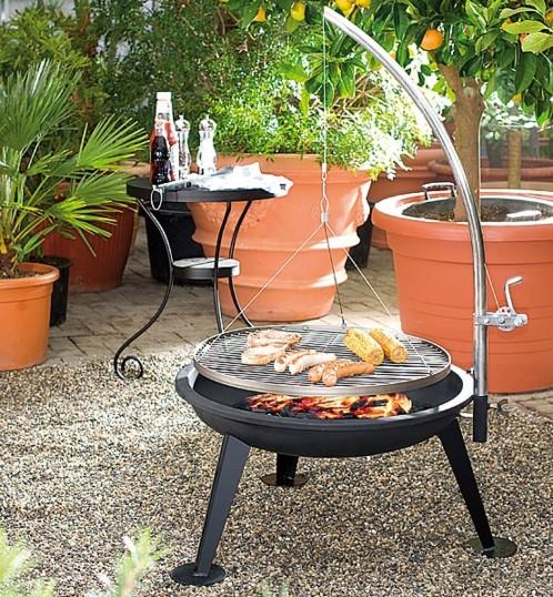 barbecue charbon grand mod le avec grille et manivelle. Black Bedroom Furniture Sets. Home Design Ideas