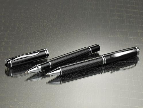 Ensemble roller et stylo à bille effet 3D noir matelassé