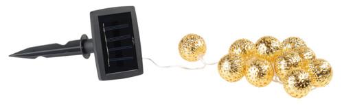 guirlande lumineuse solaire etanche 2m avec 10 boules dorées avec eclairage clignotant lunartec