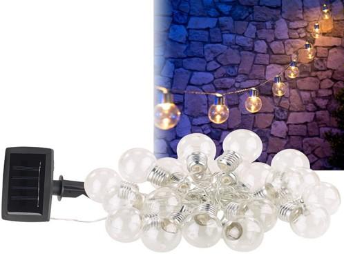 Guirlande lumineuse solaire à LED design ampoule classique - 3,80m