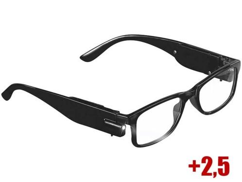 lunettes de lecture mixtes noires avec mini lampes LED et verres dioptrie +2,5 Pearl