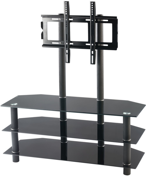 meuble tv avec vesa et triple tablette en verre noir meuble tv. Black Bedroom Furniture Sets. Home Design Ideas