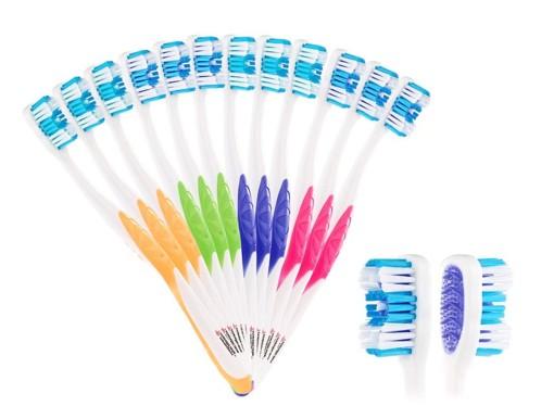 Pack de 12 brosses à dents 4 couleurs - Adultes - Poils durs