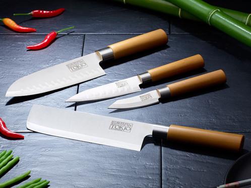Couteaux de cuisine pro en inox pas cher avec santoku et - Set de couteaux de cuisine ...