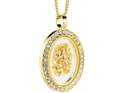 Chaîne & pendentif ''Ovale'' avec feuille d'or 23 carats