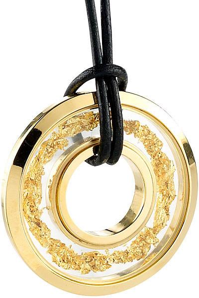Pendentif ''Cercle'' avec feuille d'or 23 carats
