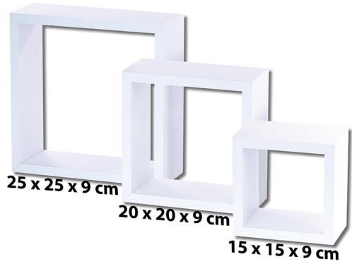pack de 3 etagères carrées blanches pour décoration murale moderne destructurée carlo milano
