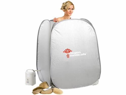 Femme dans un bain à vapeur mobile et pliable par Newgen Medicals