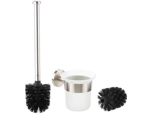 brosse wc toilettes chiottes classe avec socle mural surelevé en verre et brosse noire manche inox badestern