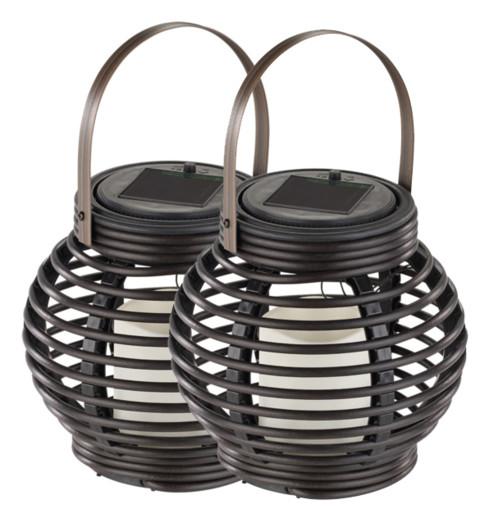 paire de lanterne ronde en rotin avec fausse bougie LED et capteur solaire lunartec