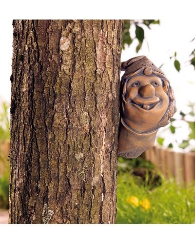Troll ''Caché'' décoratif en résine artificielle