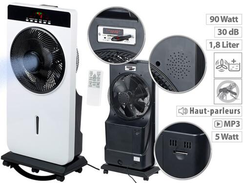 Ventilateur Ø 30 cm avec fonctions vaporisation, anti-insectes & lecteur MP3