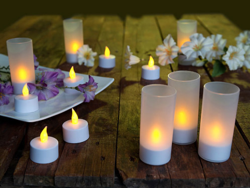 12 Bougies chauffe plat à LED avec photophore décoratif