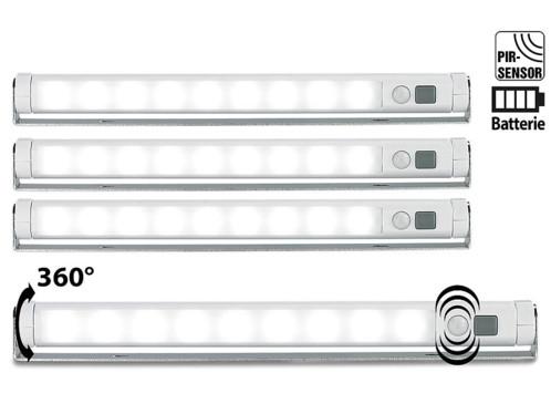 4 Réglettes LED avec détecteur de mouvement - blanc froid