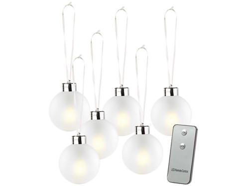 6 Boules de Noël lumineuses dorées avec télécommande - blanc