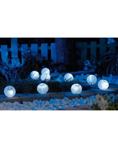 guirlande de lampions led solaires ronds et blancs pour jardin. Black Bedroom Furniture Sets. Home Design Ideas