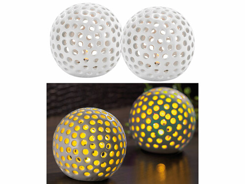 Lot de 2 lampes décoratives LED sans fil en céramique