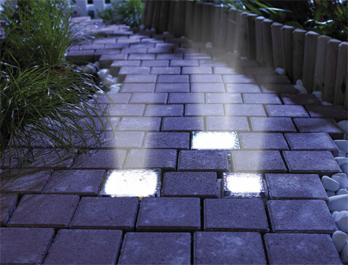 Pavé lumineux à LED solaire - 10 X 10 X 5 cm