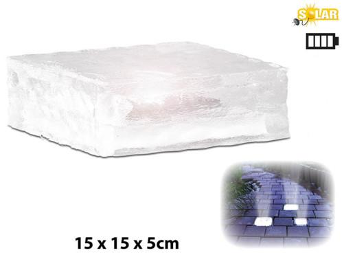 4 Pavés lumineux à LED solaires - 15 X 15 X 5 cm