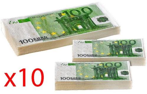 10 lots de mouchoirs et serviettes en papier imprimés 100 Euros