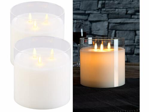 2 bougies LED en cire à 3 mèches avec photophore en verre