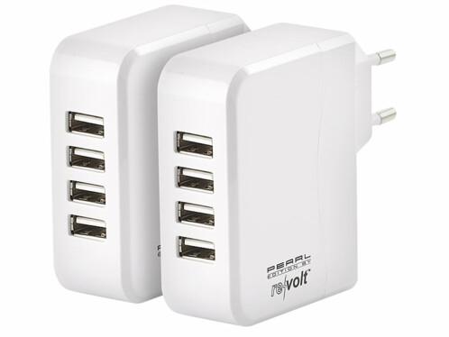 2 chargeurs secteur avec 4 ports USB et technologie Smart Power - 24 W