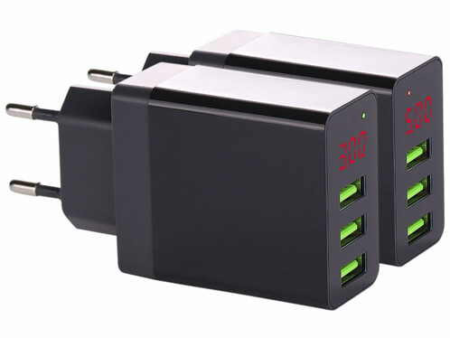 2 chargeurs secteur USB intelligents avec 3 ports USB - Noir