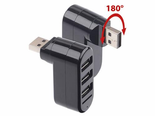 2 hubs USB 2.0 orientables à 180° avec 3 ports et lecteur de cartes Micro SD