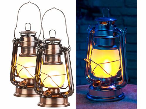 2 lampes tempêtes effet flamme, hauteur 25cm - Coloris Bronze