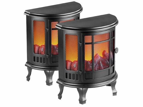 2 poêles électriques décoratifs à piles de 35,5 cm