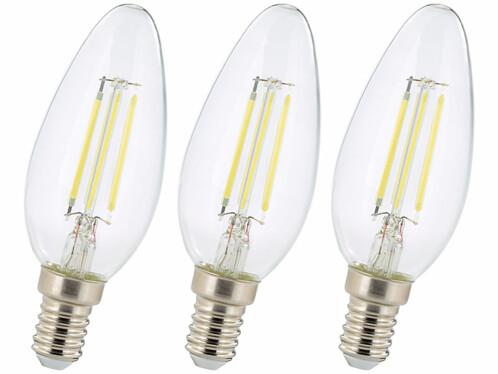 Lot de 3 ampoules bougie LED E14 Luminea.