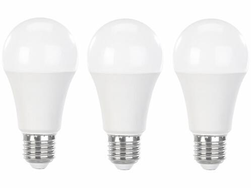 Pack de 3 ampoules LED E27 Luminea à intensité variable.