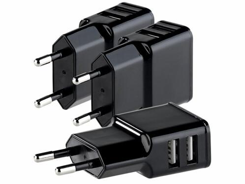 3 chargeurs secteur compacts avec 2 ports USB (2,1 A)