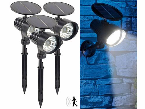 3 spots solaires à LED avec détecteur de mouvement et témoin rouge clignotant