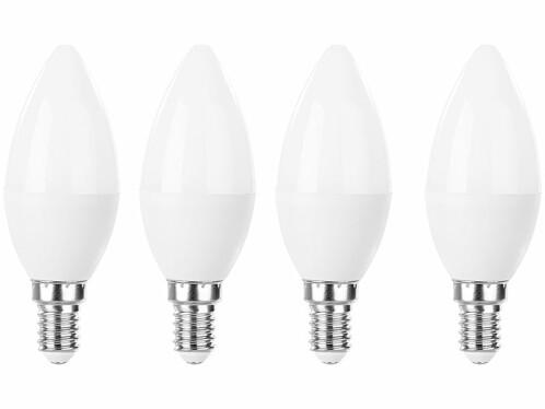 Pack de 4 ampoules LED E14 format bougie Luminea.