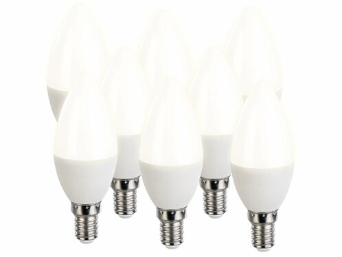 8 ampoules LED E14 bougie - 470 lm - Blanc chaud