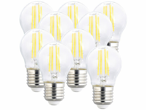9 ampoules LED filament E27 à intensité variable - 4 W - 470 lm - Blanc neutre