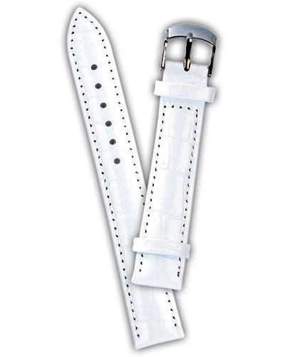 Bracelet de montre cuir aspect croco - blanc           12 mm